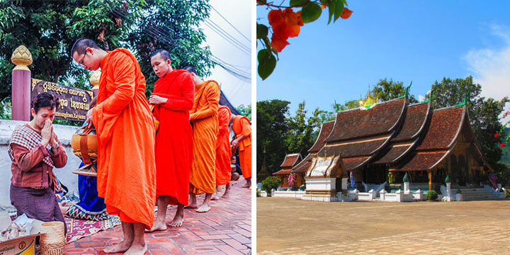 Laos morning alms & Wat Xiengthong