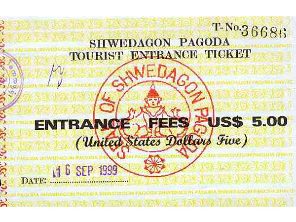 Ticket for Shwedagon Pagoda